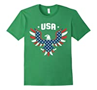 Patriotic American Flag Bald Eagle Usa T Shirt Forest Green