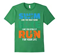 Swim Bike Run Triathlon Running Cycling Swimming Shirts Forest Green