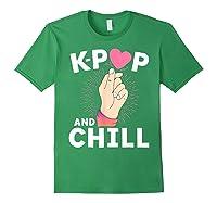 K Pop And Chill Finger Heart Korean Kpop Merchandise Shirts Forest Green