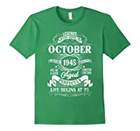 Vintage October 1945 75th Birthday Gifts For 75 Years Old Shirts Forest Green