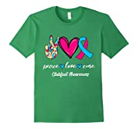 Peace Love Cure Light Blue Pink Ribbon Clubfoot Awareness Shirts Forest Green