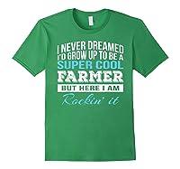 Funny Super Cool Farmer Tshirt Gift T-shirt Forest Green