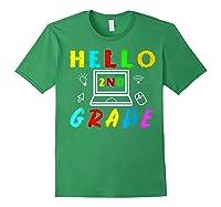 Hello 2nd Grade Tea Back To School Online Teaching T-shirt Forest Green