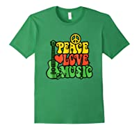 Peace Love Music Reggae Guitar T-shirt For Everyone Forest Green