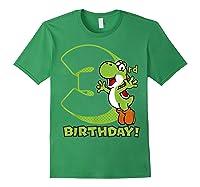 Super Mario Yoshi 3rd Birthday Action Portrait T-shirt Forest Green