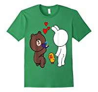 Brown Bear Cony Bunny Rabbit Engaget Ring Marriage Fiance Shirts Forest Green