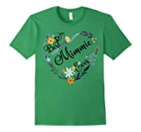 Best Mimmie Ever Heart Flower Blessed Grandma Mother's Day Shirts Forest Green