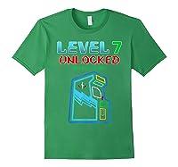 Level 7 Unlocked Birthday Gamer And Girls T-shirt Forest Green