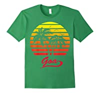 Goa 80s Summer Beach Palm Tree Sunset Shirts Forest Green