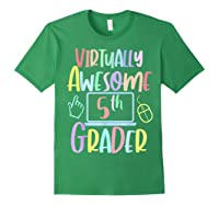 Virtually Awesome Fifth Grader E Learning Back To School Shirts Forest Green
