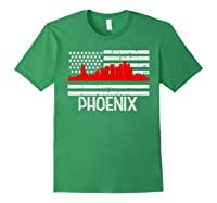 Phoenix Firefighter Red Line Skyline American Flag Hero Shirts Forest Green