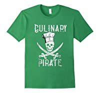 Fun Culinary T-shirt Vintage Culinary Pirate Skull Chef Hat Forest Green