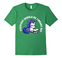 Cute Unicorn Reading Book Librarian Lover Library 2019 Shirt Forest Green