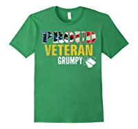 Proud Veteran Grumpy With American Flag Veteran Day Gift Shirts Forest Green