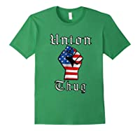 Union Thug American Flag Fist Union Worker Shirts Forest Green