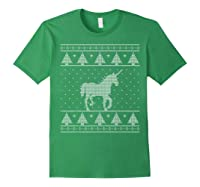 Unicorn Ugly Christmas Sweater, Funny Holiday Gift Shirts Forest Green