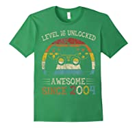 Vintage Video Level 16 Unlocked Gamers 16th Birthday Gifts Shirts Forest Green