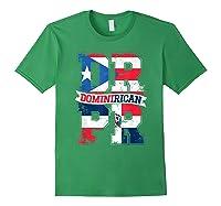 Dominirican Puerto Rico And Republica Dominicana Pride Shirts Forest Green