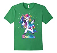 Name Rainbow Unicorn Dabbing Shirts Forest Green