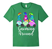 Gnoming Around 3 Hippie Gnomes Tie Dye Hat Retro Peace T-shirt Forest Green