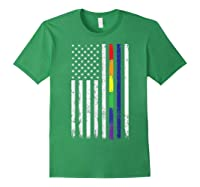 Police Support Lgbt Gay Pride Thin Red Line Rainbow Flag Fun T-shirt Forest Green