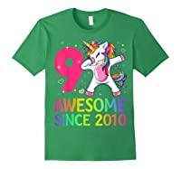 9 Years Old 9th Birthday Unicorn Dabbing Girl Party Shirts Forest Green