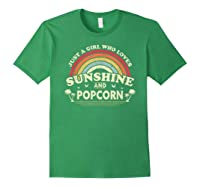 Popcorn Shirt. Just A Girl Who Loves Sunshine And Popcorn T-shirt Forest Green