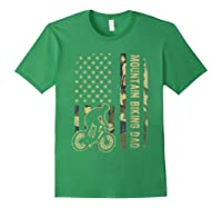 Mountain Biking Dad Camouflage American Flag Fathers Day Shirts Forest Green