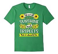 Sunshine And Triplets Funny Triplets Mom Grandma Shirts Forest Green