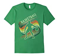 Vintage Retro Basketball Shirt Colorful Tshirt Forest Green