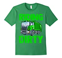 Recycling Trash Garbage Truck Riding Dirty Shirts Forest Green