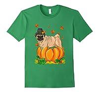 Thanksgiving Day Pug Dog Costume Pumpkin Gifts T-shirt Forest Green