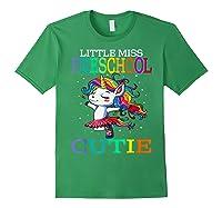 Little Miss Preschool Cutie Unicorn Back To School Girls T-shirt Forest Green
