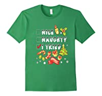 Nice Naughty I Tried Funny Candy Christmas Pajama Gift Shirts Forest Green
