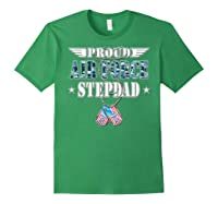 Proud Air Force Stepdad Us Flag Dog Tag Wing Military Family Shirts Forest Green