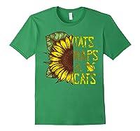 Sunflower Tats Naps & Cats Sunflower Tshirt Cat Lover Gifts Forest Green