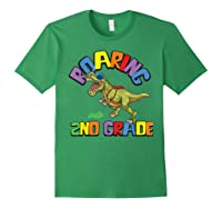 T Rex Back To School Roaring Into 2nd Grade Gift Shirts Forest Green