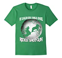 Cavalier King Charles Spaniel Rides Shotgun Halloween Shirts Forest Green