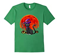 Vintage Scary Halloween Black Cat Costume Witch Hat & Moon T-shirt Forest Green
