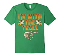I'm With The Troll Costume Funny Halloween Couple Shirts Forest Green