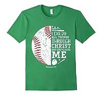 Baseball Gifts Bible Verse Sayings Philippians 413 Shirts Forest Green