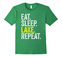 Eat Sleep Lake Repeat Summer Boating Vacation Boat Premium T-shirt Forest Green