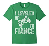 Funny Video Gamer Gift I Leveled Up To Fiance Cute Shirts Forest Green