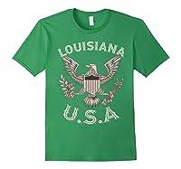 Louisiana Usa Patrio Eagle Vintage Distressed Shirts Forest Green