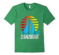 Zanzibar Sailing T-shirt Sunset Sailboat Vacation Gift Forest Green