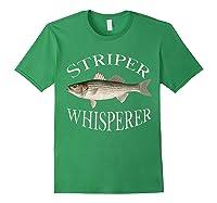 Striper Whisperer Striped Bass Fish Illustration Fishing T-shirt Forest Green