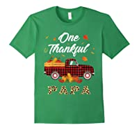 One Thankful Papa Truck Thanksgiving Day Family Matching T-shirt Forest Green
