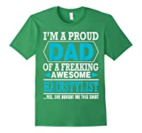 S Proud Dad Awesome Hairstylist Gift T-shirt Forest Green