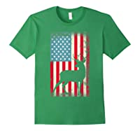 American Flag Deer Hunter, Patriotic Gift Idea For T-shirt Forest Green