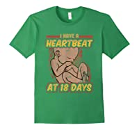 Pro Life Shirt - Catholic Tee - I Have A Heartbeat T-shirt Forest Green